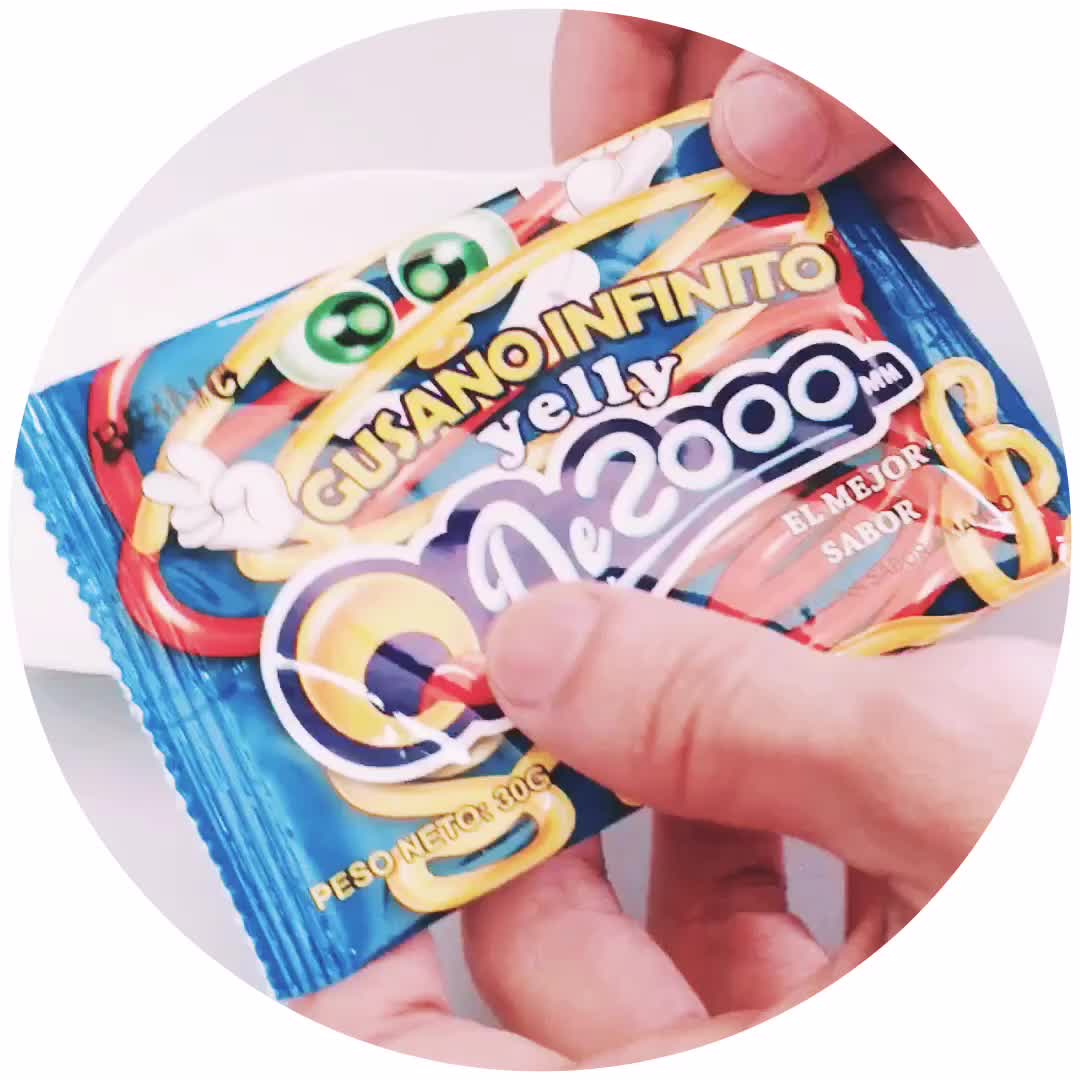 Hot Sale Halal Jelly Noodles Rope 200cm Length Worm Jelly Candy