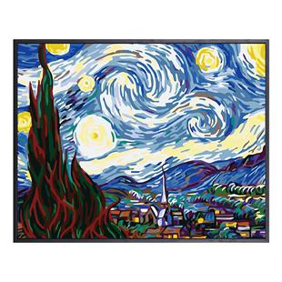 缘色diy数字油画手绘涂色减压星空抽象油彩画手工填色卧室装饰画