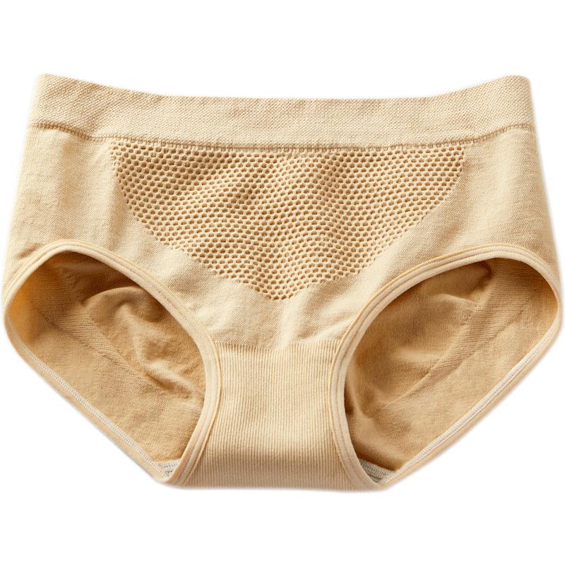 抗菌蜂巢暖宫收腹提臀少女士内裤女生纯棉裆全棉无痕中腰蕾丝大码