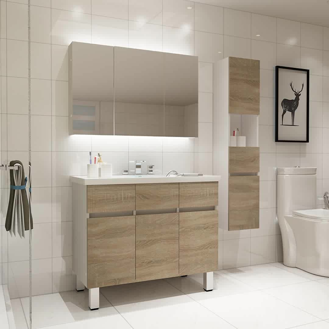 Floor Standing Luxury Bathroom Cabinets Solid Wood Modern Bathroom Vanities