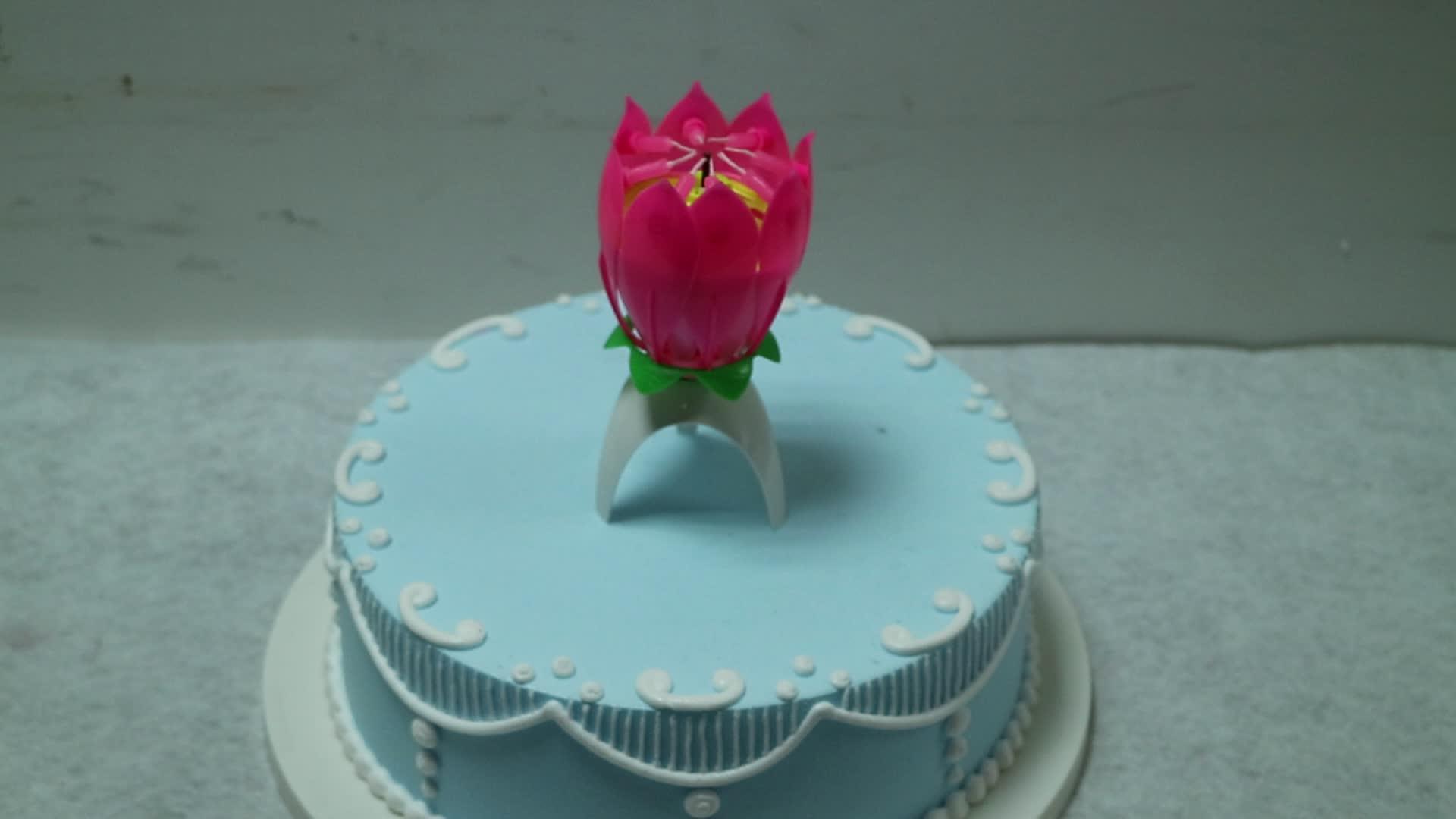 Lotus Flower Rotating Music Birthday Candle