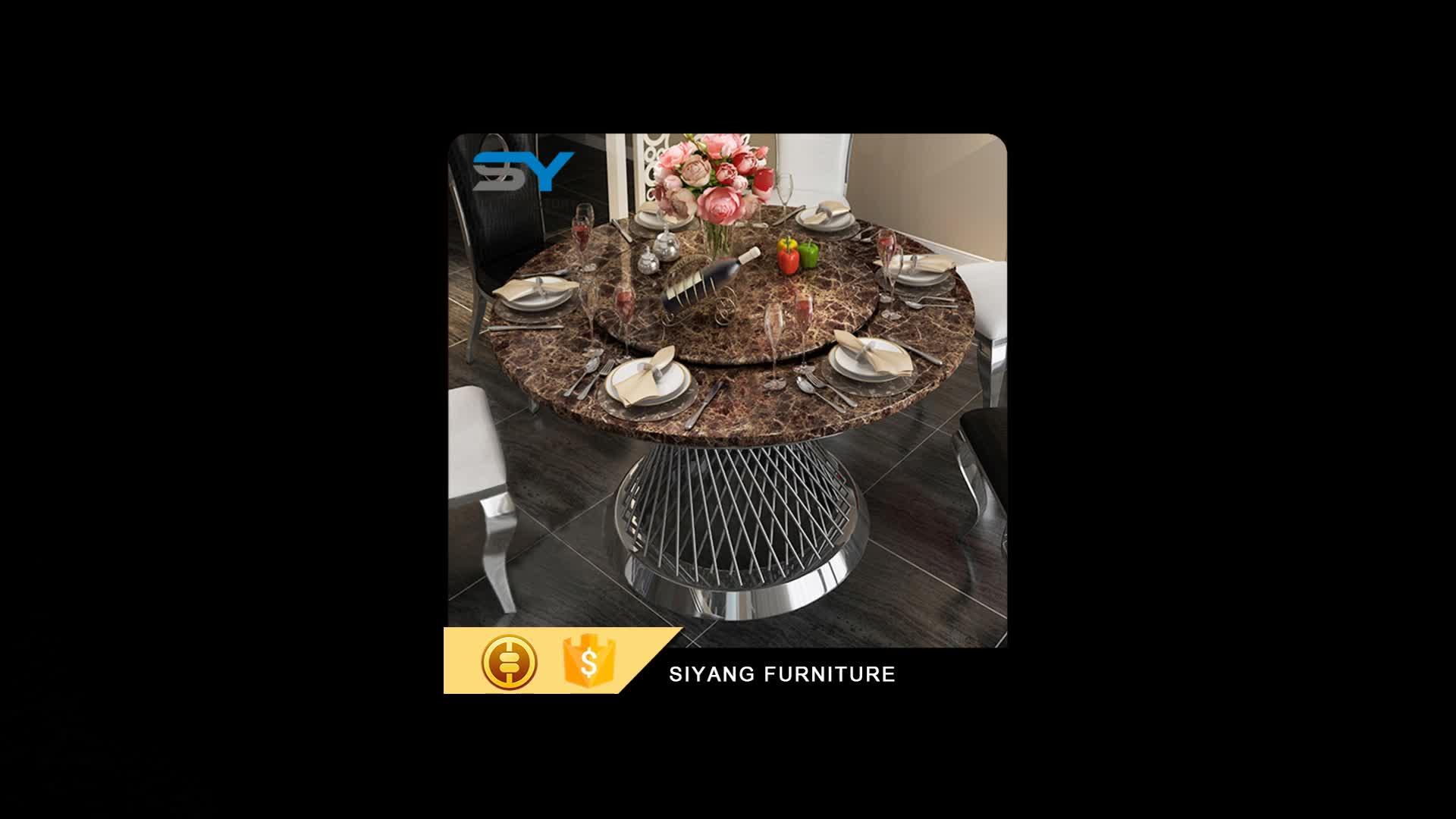 2017 grande de aço inoxidável mesa de jantar e cadeiras para venda CT008