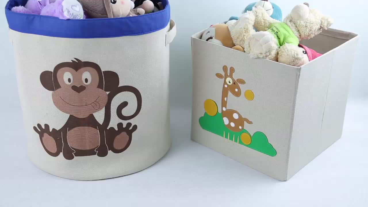 Square Collapsible Canvas Storage Box Foldable Kids Toys: Canvas Animal Themed Toy Storage Bins