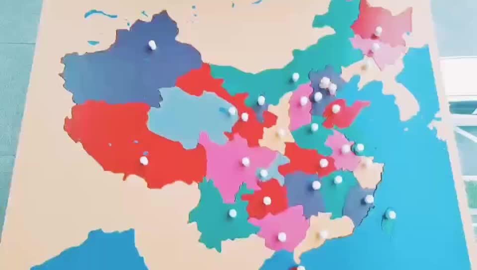 Bambini Materiali Montessori Puzzle Di Legno Mappa Del Mondo