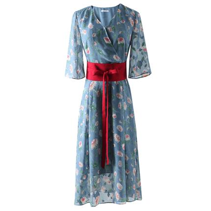 收腰显瘦气质连衣裙棉立方复古裙子