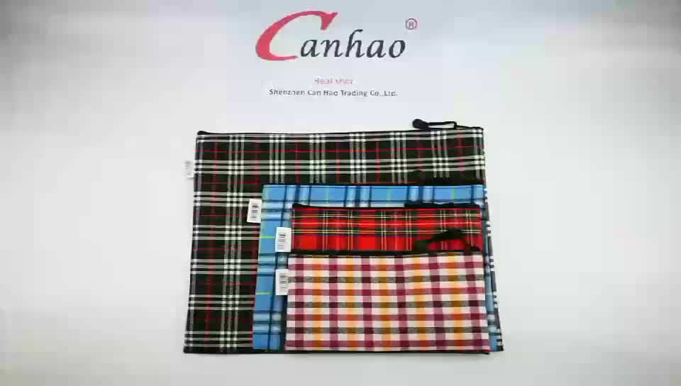 OEM kantoorbenodigdheden A4 size plaid document dames canvas bestand pakket tas