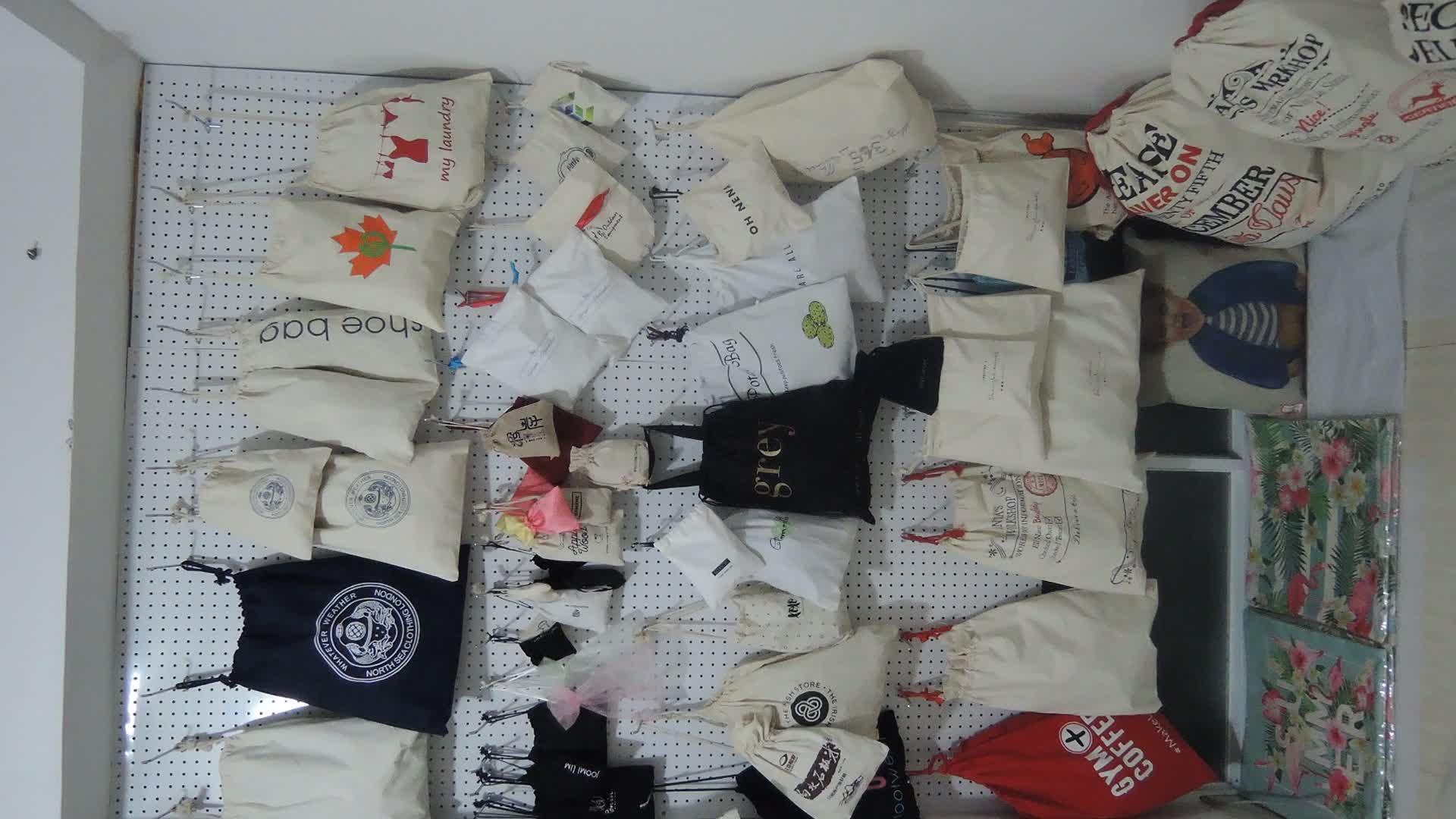 Wholesale 100% cotton eco friendly custom muslin cheap drawstring bags