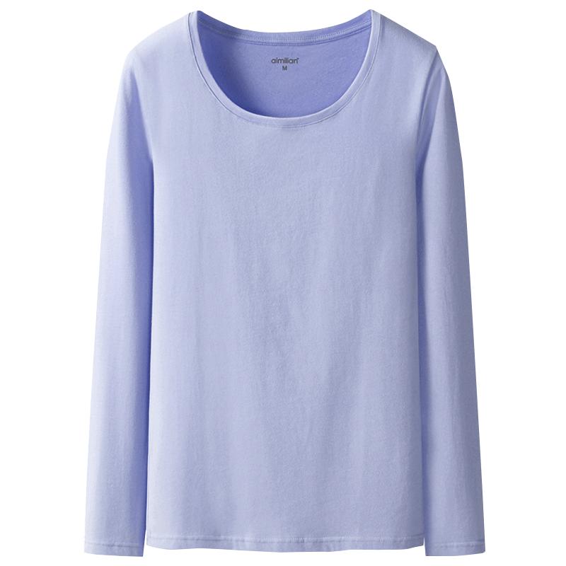 艾米恋长袖t恤女纯棉白色秋冬女上衣内搭圆领体恤修身纯色打底衫