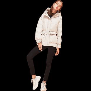 香影羽绒服女2019冬装新款时尚韩版宽松面包服连帽收腰白鸭绒外套