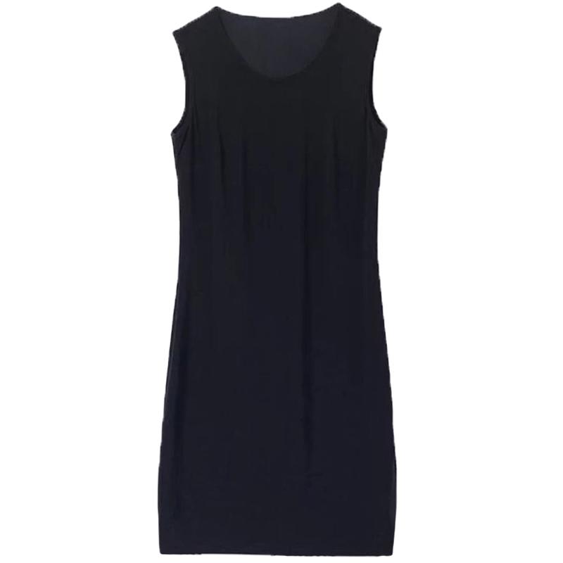 2021春秋季新款韩版无袖连衣裙黑色修身显瘦打底背心裙子V领女装