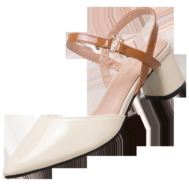 凡麦包头凉鞋女夏季2018新款韩版百搭女士中跟尖头粗跟高跟凉鞋子