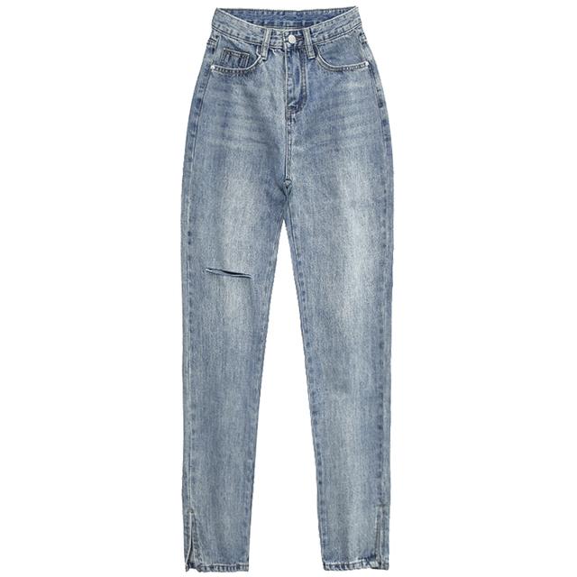 高腰侧开叉牛仔裤女夏季薄款2021年新款直筒宽松港风复古显瘦开衩