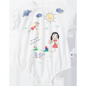 迷你巴拉巴拉婴儿连体衣2020夏季新款三角哈衣新生儿女男宝包屁衣