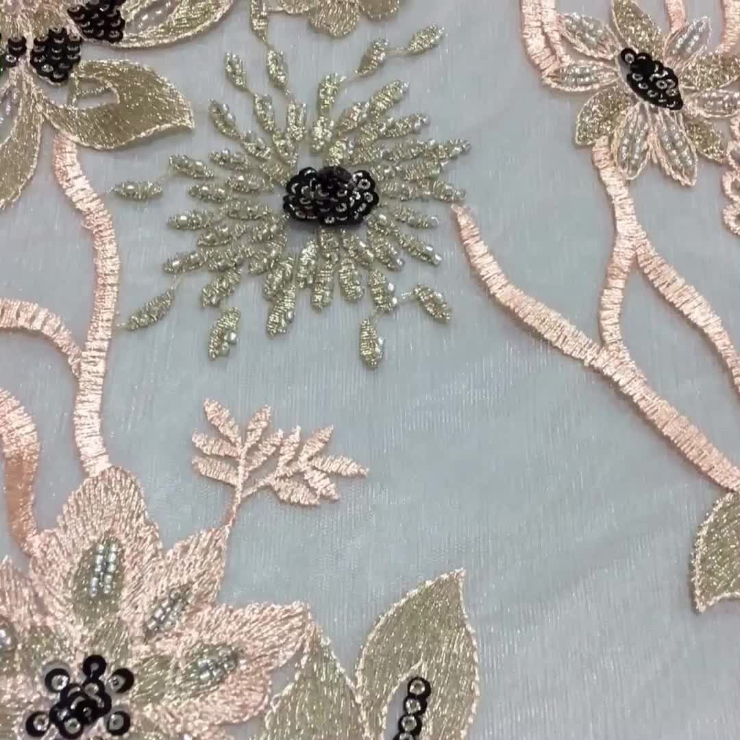 Oem Polyester Machine 3D Handwork Embroidery Lace Fabric