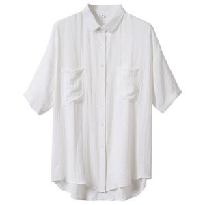 棉麻女短袖2021新款双口袋白衬衫