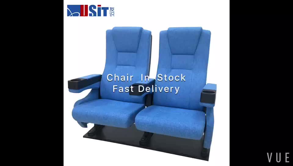 USIT UA-638E-19 Blue fabric fixed back seat theater chair in stock for sale