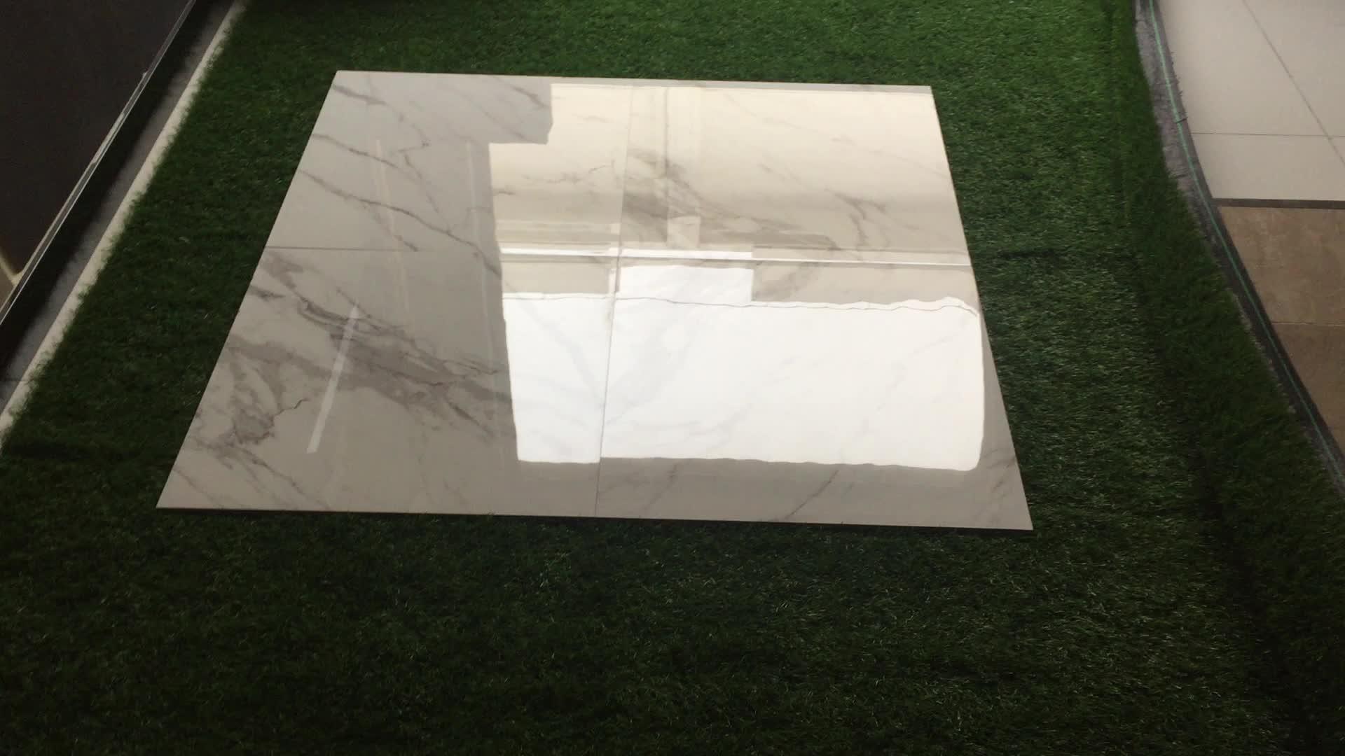 Non Slip 24x24 Calacatta White Glazed Stock Porcelain Ceramic Tile