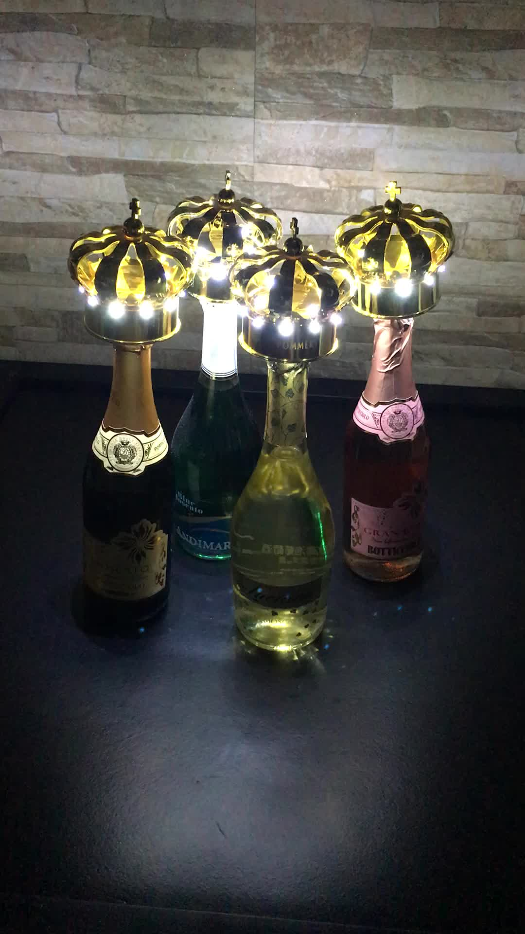 Elegant Nightclub VIP led lighting crown champagne bottle caps