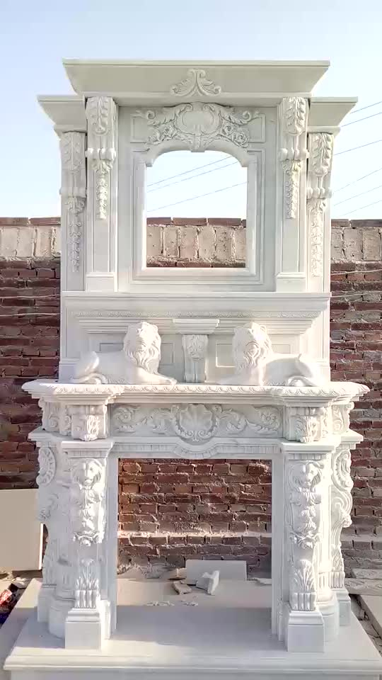 Custom Design Stone Carved Sculpture Marble Fireplace Mantel