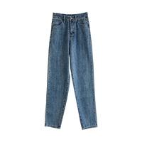 老爹牛仔裤女2021年新款秋装直筒宽松高腰显瘦小个子萝卜哈伦裤子