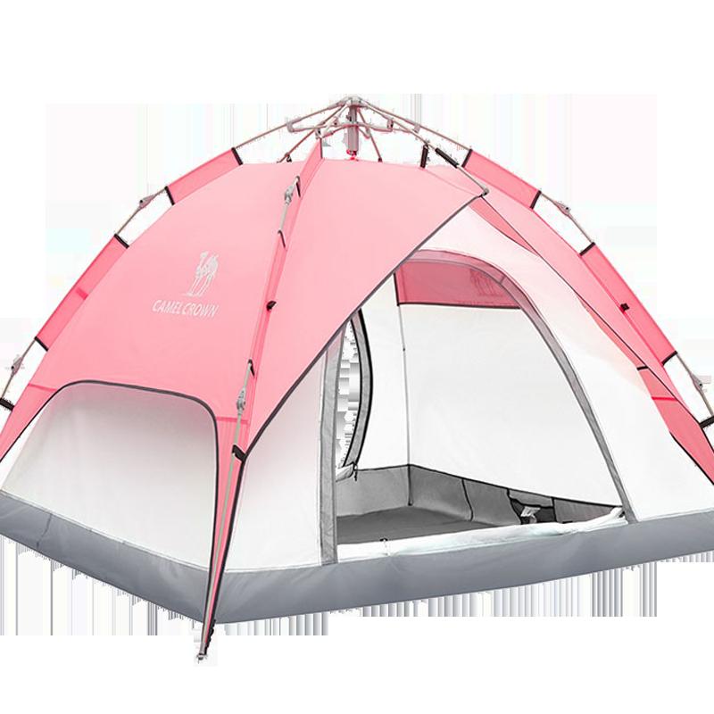骆驼帐篷户外野营双层加厚防雨 3-4人全自动双人速开野外露营帐篷