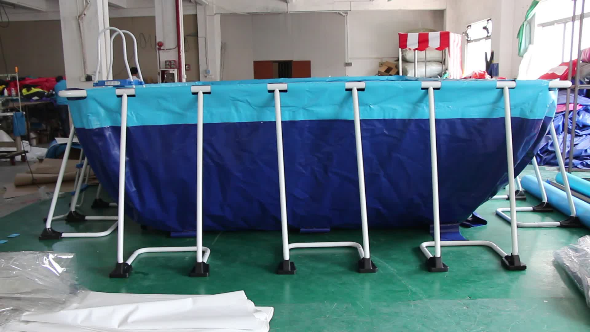 High quality portable above ground swimming pool for party/metal frame swimming pool