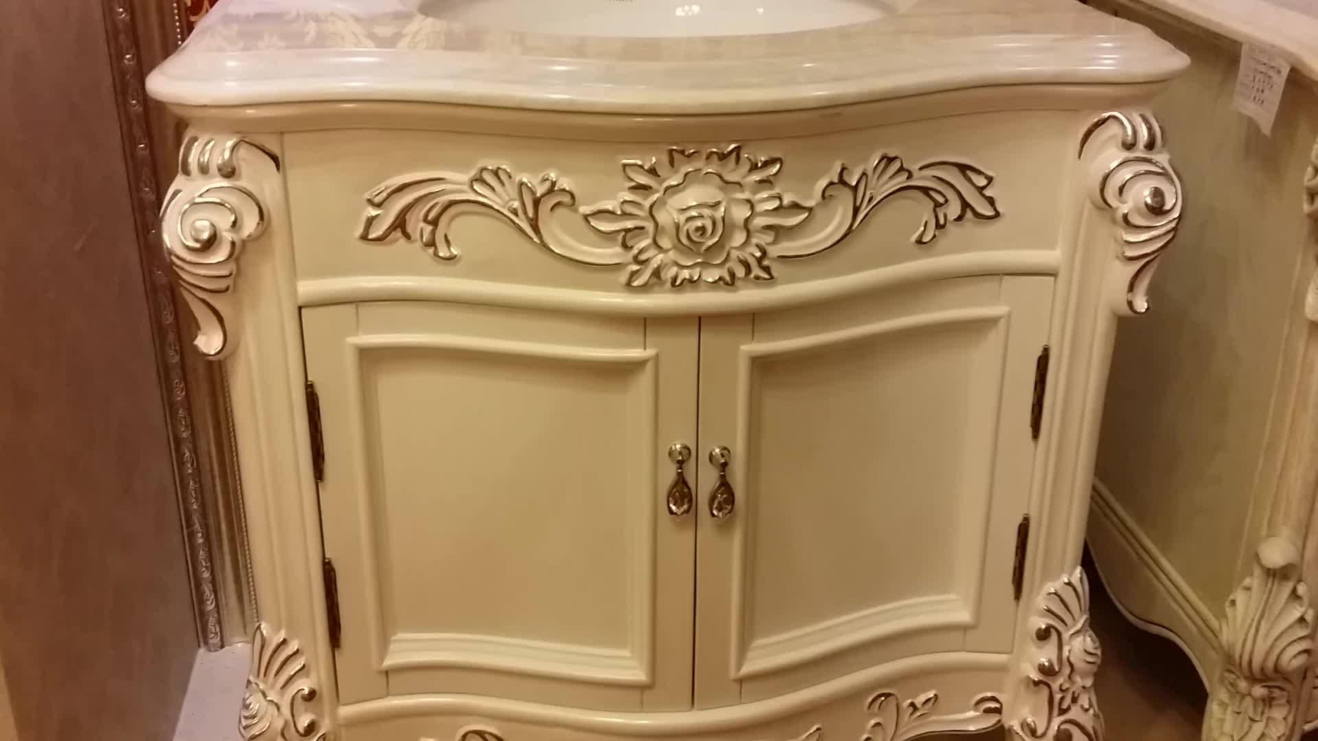 30 Inch Oak Bathroom Vanity In Pearl White With Silver Leaf Single Sink Wts1604 Buy Bathroom