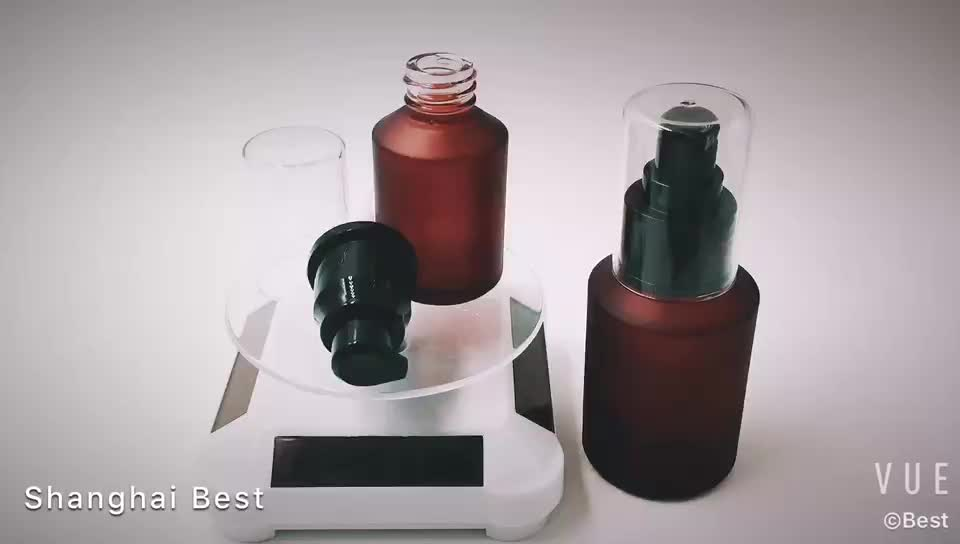 60ml cosmetic packaging matte red slant shoulder glass lotion bottle with black pump