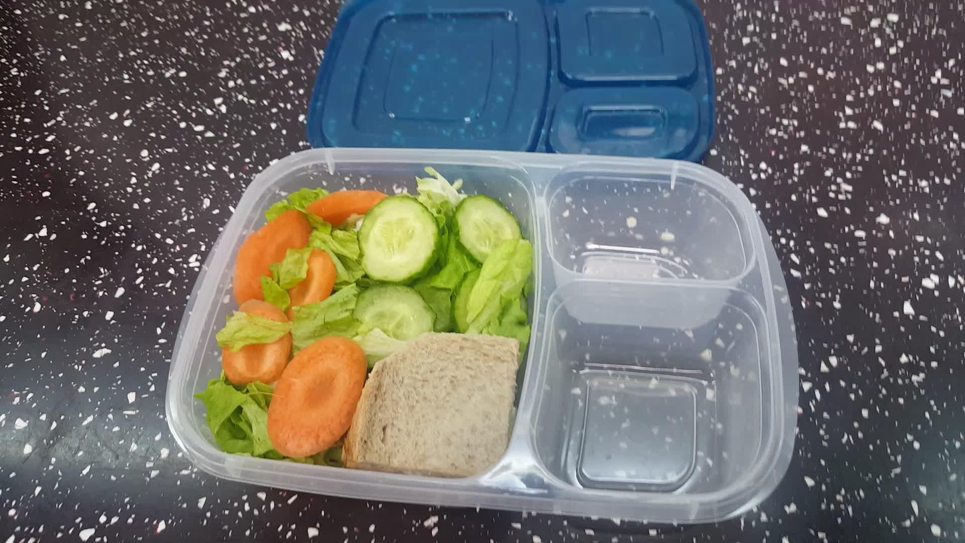 BPA libre reutilizable alimentos grado plástico hermético contenedor de almacenamiento con tapa de bloqueo 3 compartimiento plástico de almacenamiento de alimentos