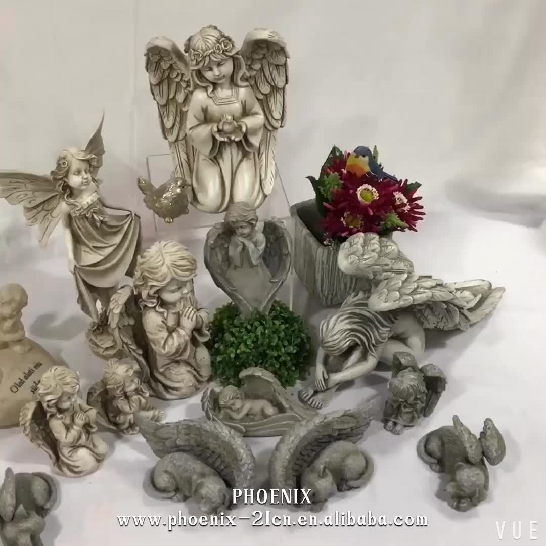 Estatuetas do anjo da resina da decoração do jardim mini