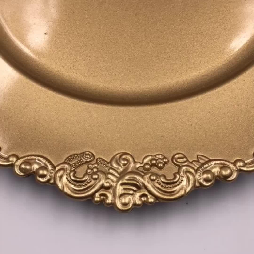 Hot Sale Cheap Emboss Gold Polypropylene Charger Plates