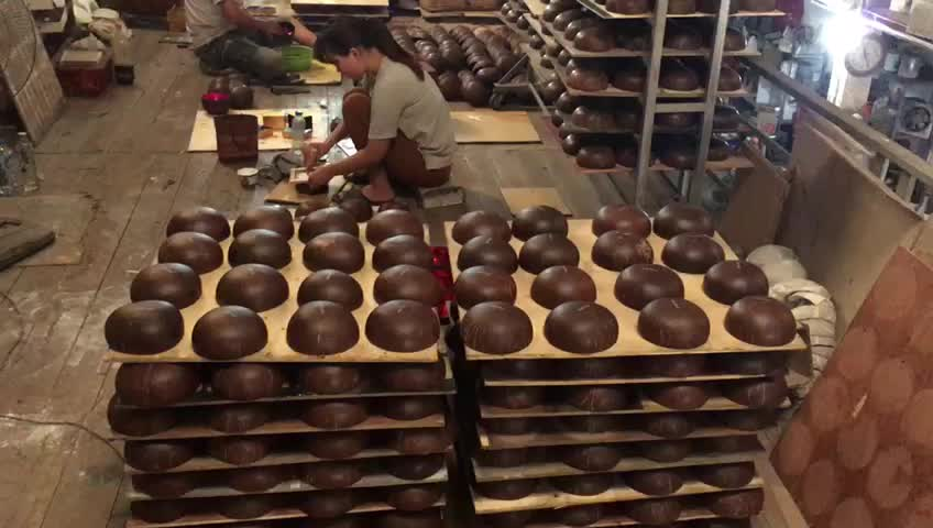 Best Selling Hand Crafted Raw Coconut Shell Bowls from Ha Thai lacquer factory
