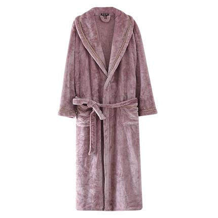 情侣睡袍秋冬季加厚浴衣男士法兰绒浴袍珊瑚绒加长款女士加绒睡衣