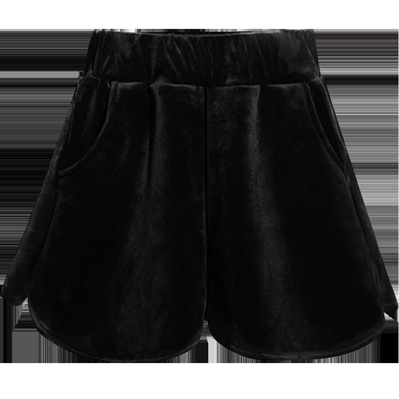 短裤女外穿秋冬季打底毛呢百搭显瘦春季ins潮金丝绒休闲阔腿高腰