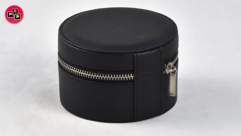 Wholesale packaging storage jewelry box customized large mirror round cosmetic box with zipper jewelry box for women