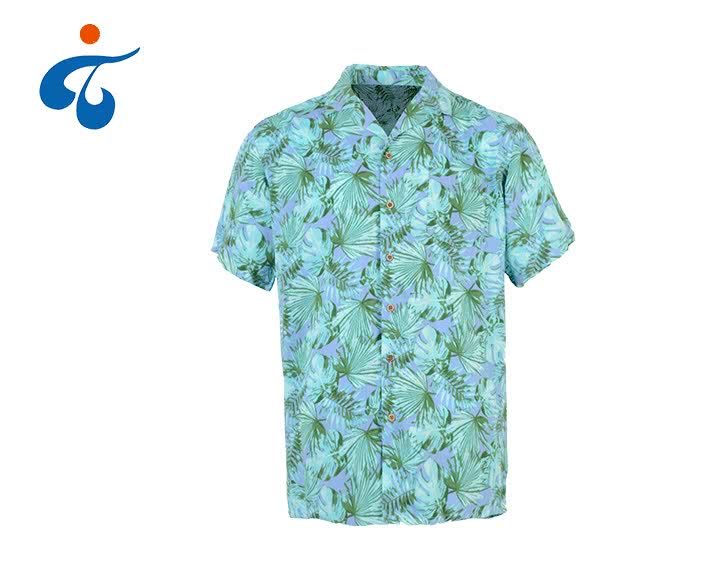 Custom made comfortable short sleeve rayon printed button down men floral casual shirt
