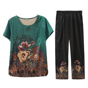 妈妈夏装套装新款短袖T恤60-70岁中老年人女装太太两件套奶奶衣服