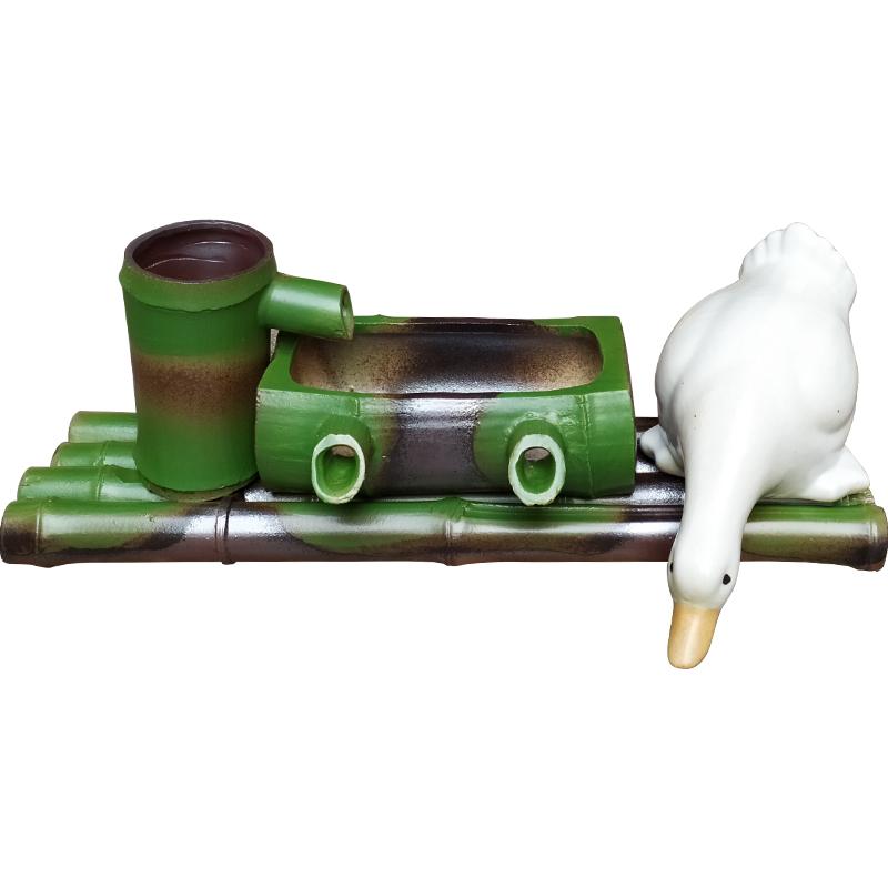 景德镇陶瓷竹排流水创意百搭过滤增氧鱼缸庭院居家喷泉造景配件