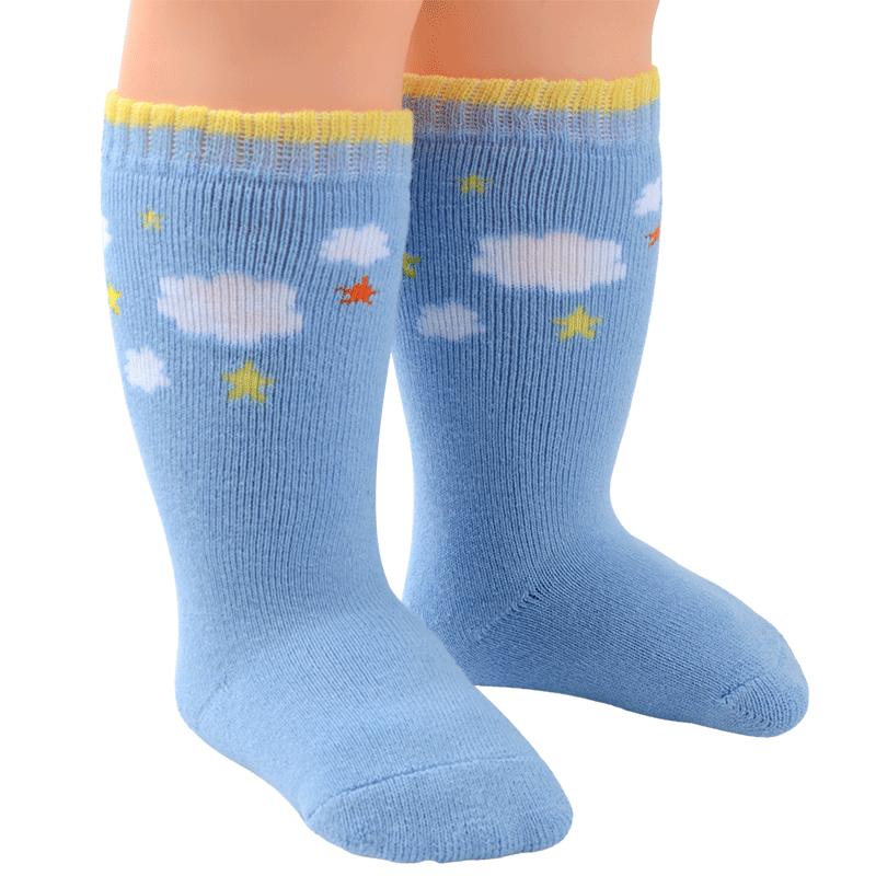 婴儿长筒袜秋冬季加厚保暖冬天款清 纯棉新生儿0-3个月宝宝袜子