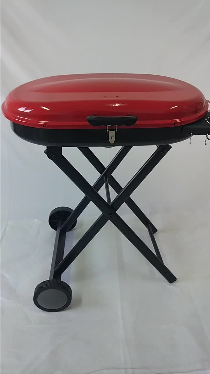 Brazilian New Outdoor Patio Small Propane Barbecue Natural Gas bbq Grills with Foldable Trolley Cart for Sale