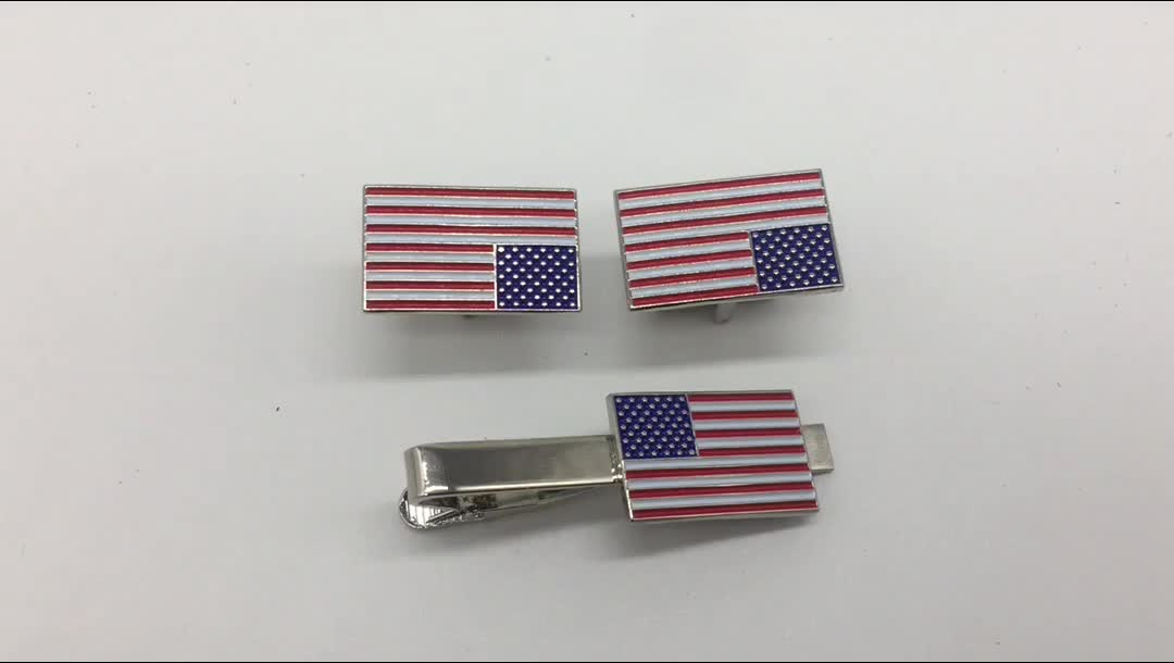 Tie Bar Clip And Lapel Pin Set USA American Flag Patriot Collection