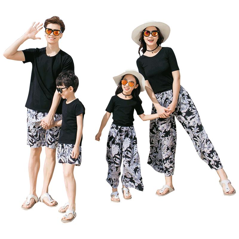 亲子装夏装全家装2019新款一家三口海边度假装家庭装母女沙滩套装