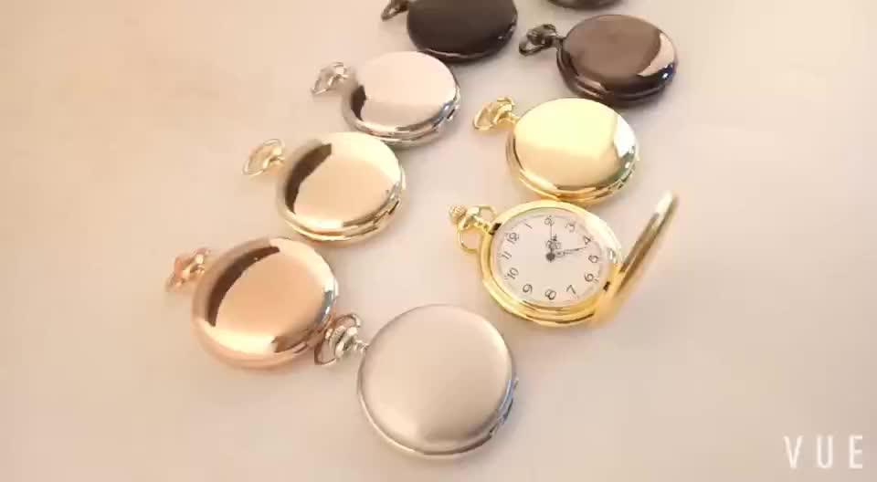 Retro Vintage Smooth Black Quartz Pocket Watch With Chain
