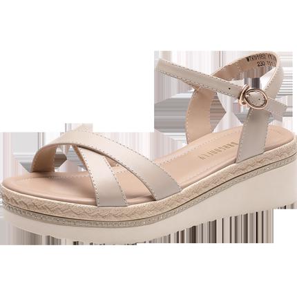 红蜻蜓2019夏季新款厚底坡跟女鞋