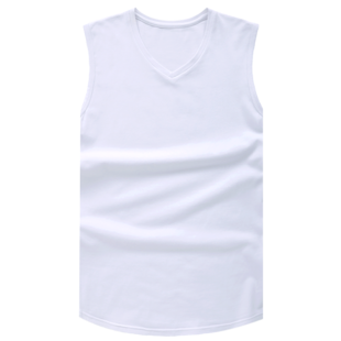 男士纯棉宽肩v领无袖修身型t恤