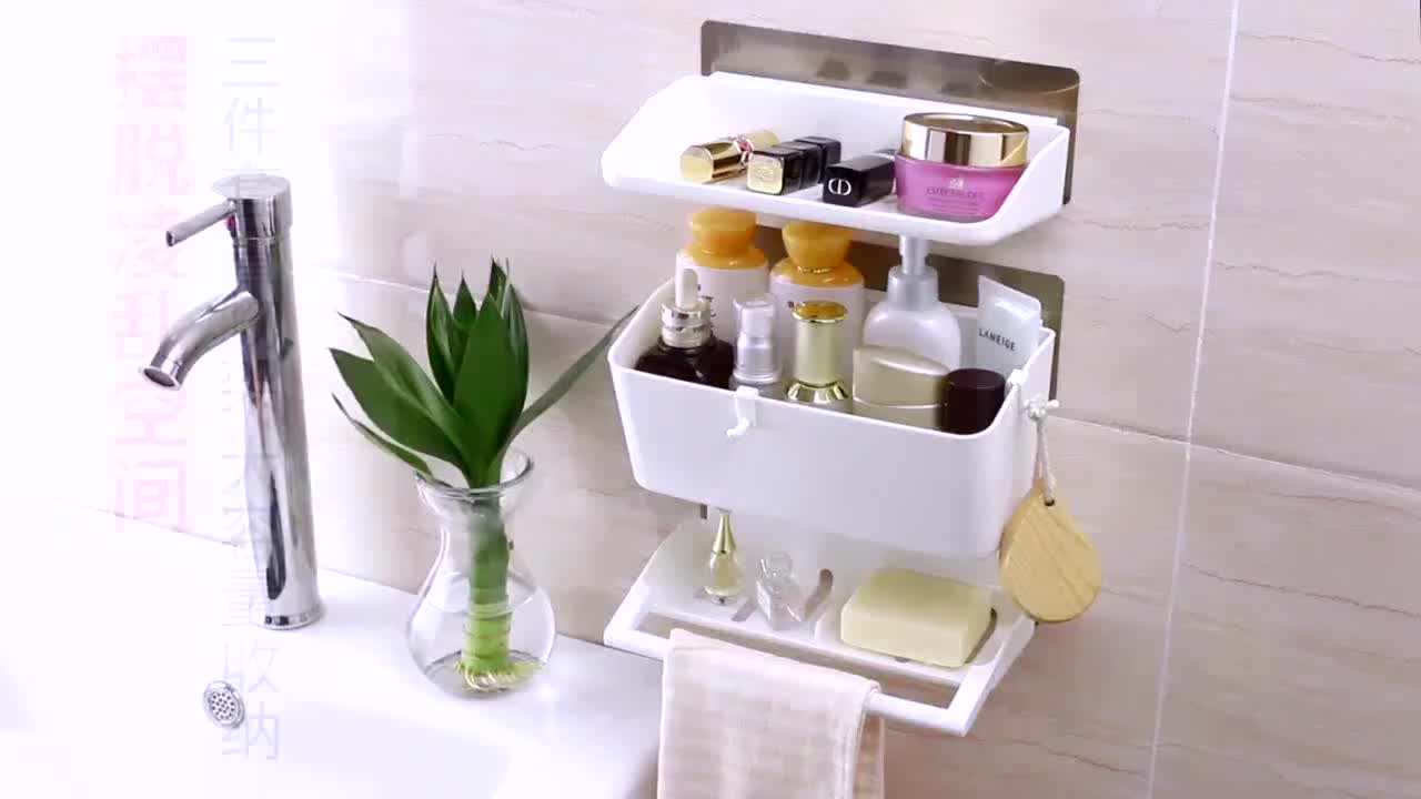 3 in 1 bathroom accessories wall mounted plastic bathroom storage rack & 3 In 1 Bathroom Accessories Wall Mounted Plastic Bathroom Storage ...