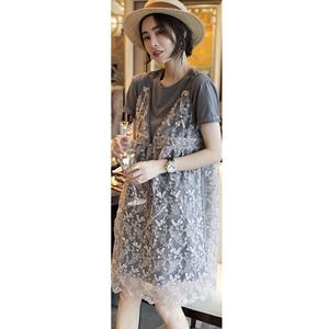 两件套装裙吊带蕾丝连衣裙女休闲气质遮肚直筒裙欧洲站2020夏新品
