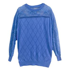 圆领蕾丝冰丝t恤宽松百搭薄打底衫