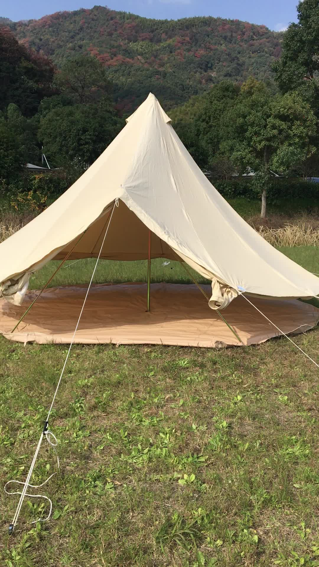 glamping luxury cotton canvas bell tent with stove and awning
