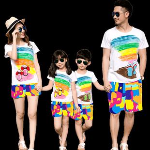 一家三口親子裝沙灘褲套裝夏裝家庭裝女童寶寶上衣短袖t恤春夏季